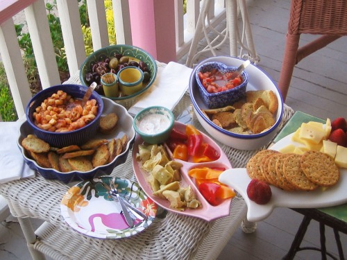 Cheese and crackers, olives, Bruschetta, shrimp, appetizers, red peppers, artichoke hearts