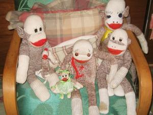 Sock monkeys, red heel socks, work socks, Rockford socks,