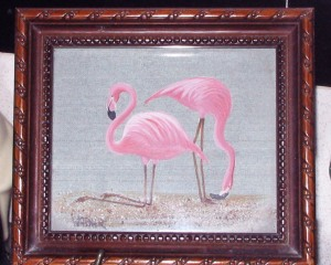 flamingos, framed, water color painting