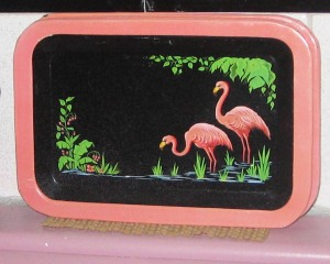 tip tray, Florida kitsch, hand painted tip trays