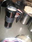 Espresso, steamed Brevi, Starbucks, travel mug