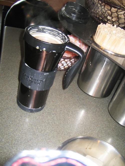 Espresso, steamed Brevi, Starbucks, travel mug