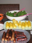 corn on the cob, grillers, hot dogs, salad, barbeque, cook out, grill