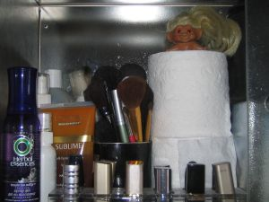 make-up brushes, troll, toilet paper, lipstick, 70's vintage toys