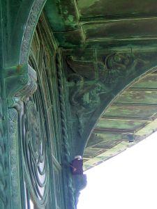 carousel horse facade, copper horse bas relief