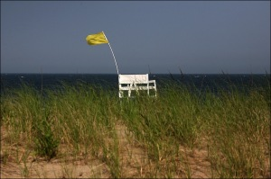 no lifeguard, Ocean Beach, yellow flag means caution