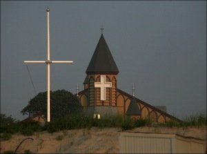 Great Auditorium, Ocean Grove, beach cross, illuminated cross