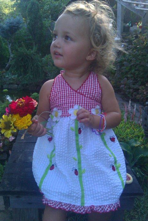 2nd Annual Boston Garden party, ladybug dress, zinnias, Finny, Finley Ray Clark