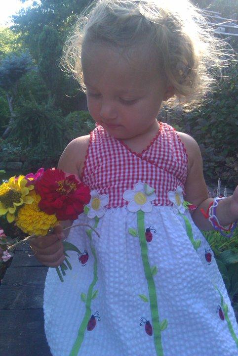 bouquet of zinnias, ladybug dress, Finny, Finley ray Clark, 2nd Annual Boston garden party