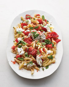 Martha Stewart living, basil, burrata cheese, mozzarella cheese, Jersey tomatoes