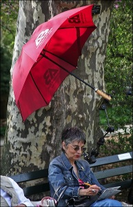 Central Park, New York city, Murray Head, red umbrella