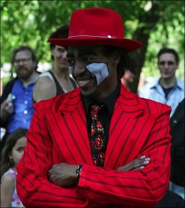 Central Park, New York city, Murray Head, street performer, red jacket