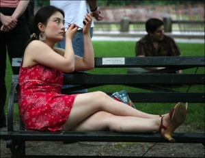 girl in red, Central Park, New York city, Murray Head