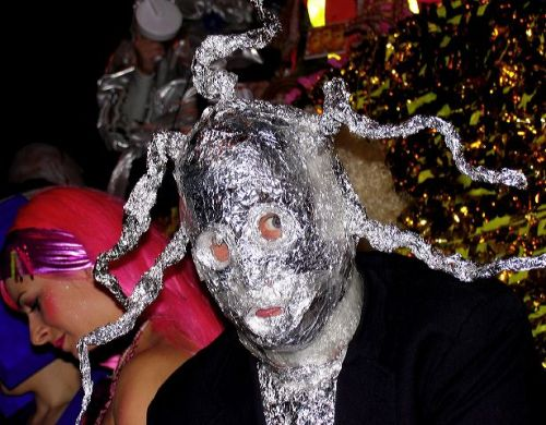 Greenwich Village Halloween parade, monster, aluminum foil, antlers, Murray Head