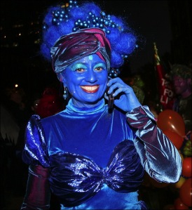 blue bandeau, blue turban, greenwich village halloween parade, Murray head