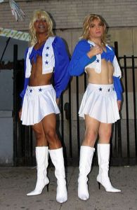 Dallas cheerleaders, greenwich village halloween parade, Murray Head