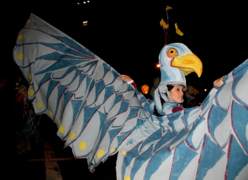 Eagle's wings, Greenwich Village Halloween parade, Murray Head, raptor
