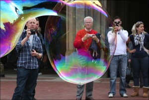 Big bubbles, Central Park, rainbow prism,