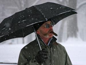 snowing, umbrella, central park,