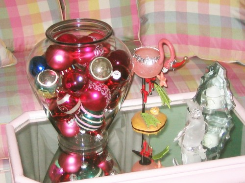 flamingo, penguin, ornaments, bowl of ornaments