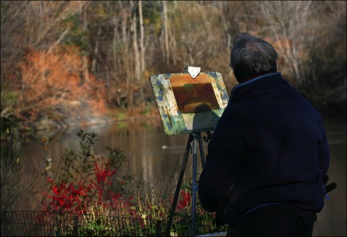 Central park pond, autumn, fall, artist, red
