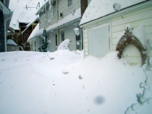 Ocean Grove shed, drifts up to the door, Monday, December 27