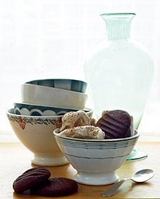 chocolate cookie, espresso, christmas dinner dessert,coffee ice cream, peppermint ice cream
