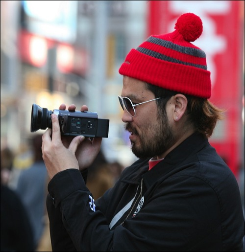 New York city, camera, knit hat, Times Square