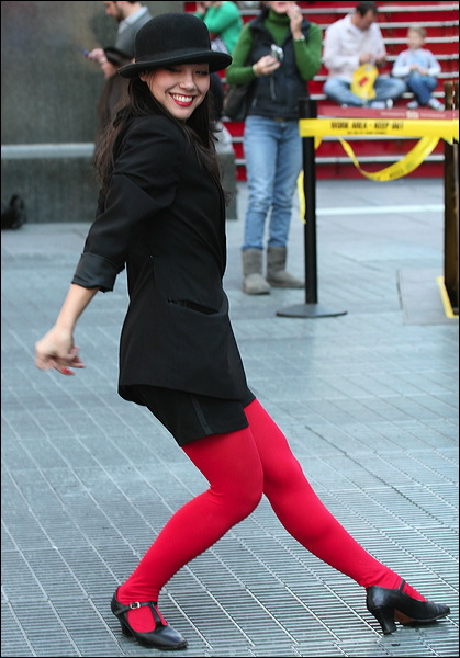 red tights, Times Square, red legs