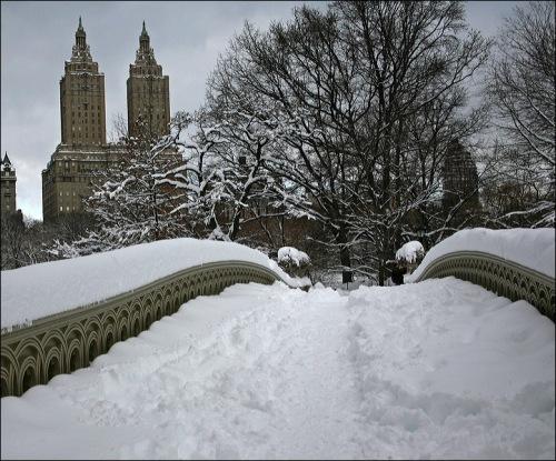 Central Park, San Remo, bow bridge, new york city, snow storm Jan 27th