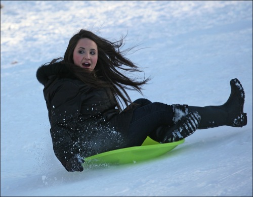 Central park, New York city, saucer, sliding, snow