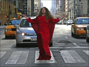 red dress, only in New York, red lady, new york crazy, mystic