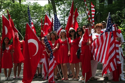 Turkish flags, American flag, Turkish Day parade, Turkey, Turkiye