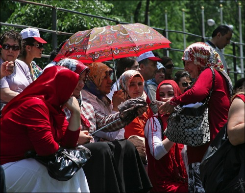 Turkish Day parade, Turkiye, red paisley umbrella, Turkey