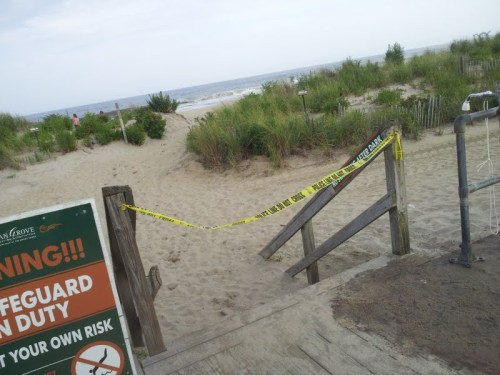 Ocean grove, police tape. beach is closed