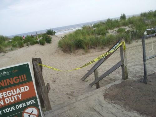Ocean grove, police tape. beach is closed