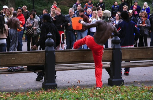 central park, nyc, street performer