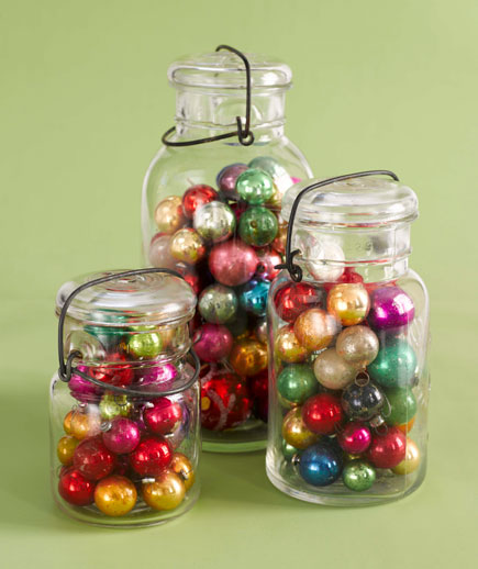 Christmas decor, old ornaments, vintage Christmas ornaments, Mason jars