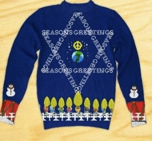 Hanukkah ugly sweater, dreidel, menorrah