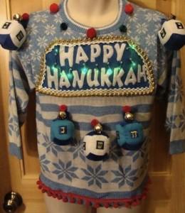 Hanukkah ugly sweater, dreidel, BRSG