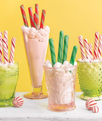candy canes, peppermint sticks, mini marshmallows, sugar, glasses