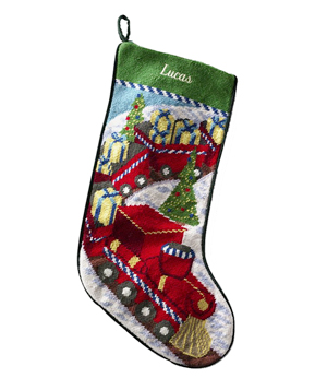 choo choo train, needlepoint stocking