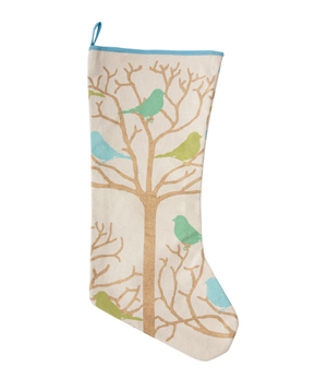 scenic stocking, felt birds,
