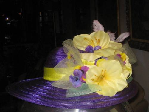 Easter Parade, New York City, purple hat, yellow lillies