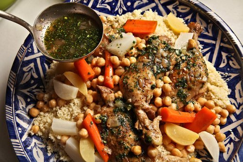 Tunisian one pot chicken dish, spicy green sauce,