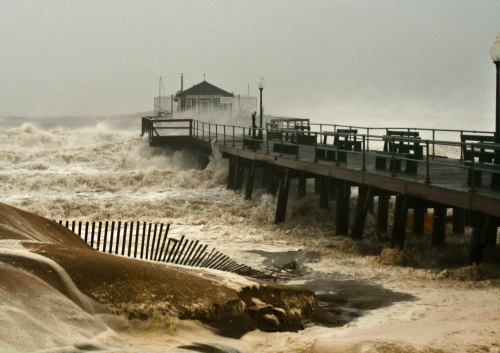 Ocean Grove, Fishing pier, Monday October 29, Hurricane Sandy