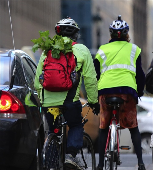 green market, cyclists, backpack