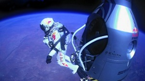 Felix Baumgartner breaks the sound barrier jumping from  more than 24 miles up