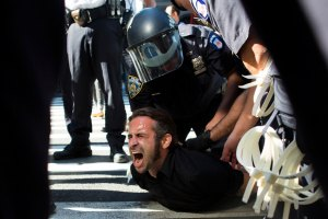 An Occupy Wall Street protester is arrested in Zuccotti Park