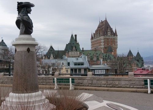 A bust of Samuel Champlain in the forefront